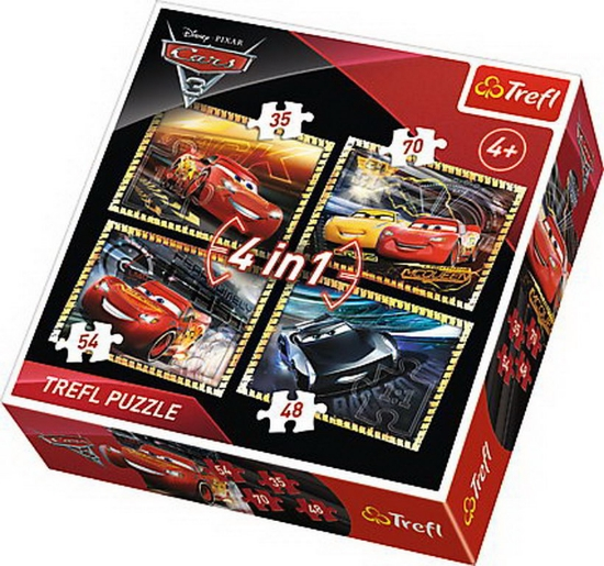 Imagine PUZZLE TREFL 4IN1 PREGATITI DE CURSA CARS3