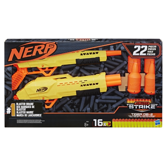 Imagine NERF ALPHA STRIKE SET 2 BLASTERE TIGER DB2 CU TINTE