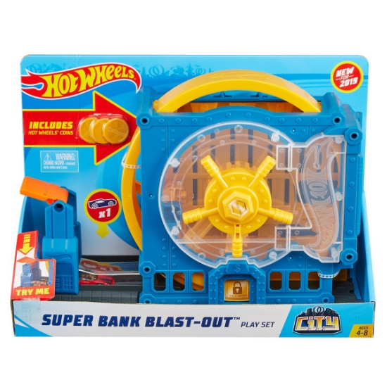 Imagine HOT WHEELS CITY DELUX CURSA EXTREMA SUPER BANK BLAST OUT