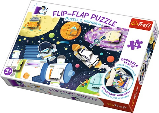 Imagine PUZZLE TREFL 36 FLIP FLAP CALATORIE IN SPATIU